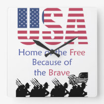 USA - Home of the Free Because of the Brave Square Wall Clock