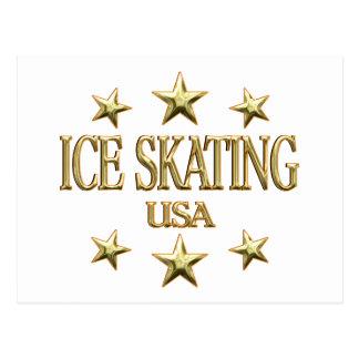 USA Ice Skating Postcard
