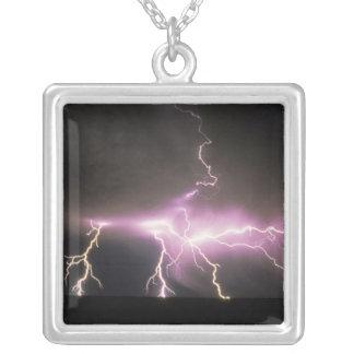 USA, Idaho. Lightning. Silver Plated Necklace