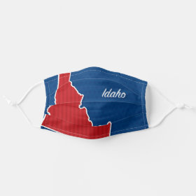 USA Idaho State Patriotic Stars and Stripes Map Cloth Face Mask