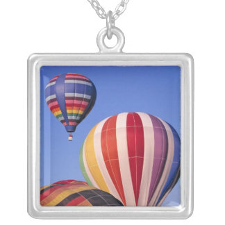 USA, Idaho, Teton Valley. Colorful hot-air Silver Plated Necklace