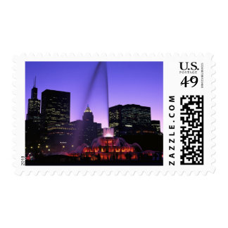 USA, IL, Chicago. Buckingham Fountain in Grant Postage Stamp
