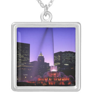 USA, IL, Chicago. Buckingham Fountain in Grant Silver Plated Necklace