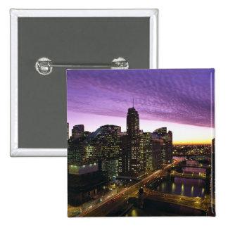 USA, IL, Chicago. Chicago skyline and river 2 Inch Square Button