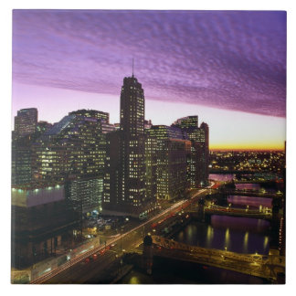 USA, IL, Chicago. Chicago skyline and river Ceramic Tile