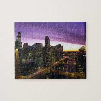 USA, IL, Chicago. Chicago skyline and river Jigsaw Puzzle