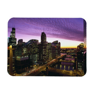 USA, IL, Chicago. Chicago skyline and river Magnet