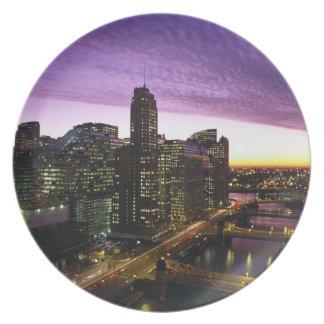 USA, IL, Chicago. Chicago skyline and river Melamine Plate