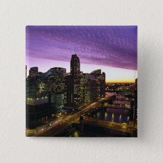 USA, IL, Chicago. Chicago skyline and river Pinback Button