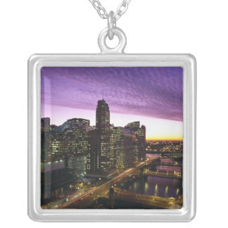 USA, IL, Chicago. Chicago skyline and river Silver Plated Necklace