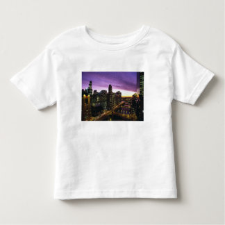 USA, IL, Chicago. Chicago skyline and river Toddler T-shirt