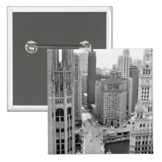 USA, IL, Chicago, Loop from Hotel 2 Inch Square Button