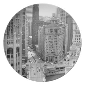 USA, IL, Chicago, Loop from Hotel Melamine Plate