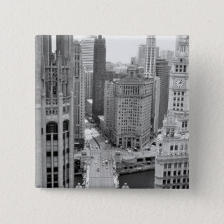 USA, IL, Chicago, Loop from Hotel Pinback Button