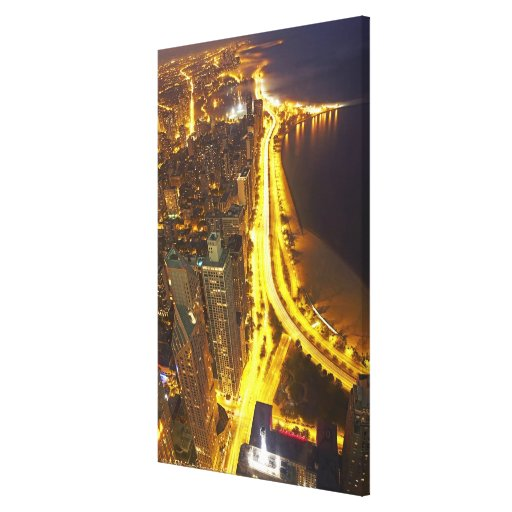 USA, Illinois, aerial view of Chicago at dusk Stretched Canvas Print