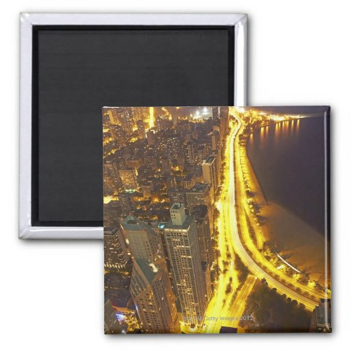 USA, Illinois, aerial view of Chicago at dusk Fridge Magnets