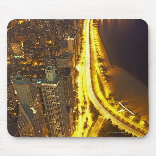 USA, Illinois, aerial view of Chicago at dusk Mouse Pad