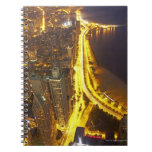 USA, Illinois, aerial view of Chicago at dusk Note Book