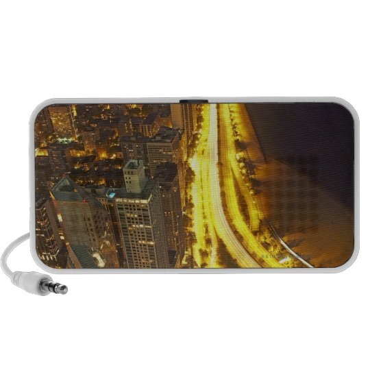 USA, Illinois, aerial view of Chicago at dusk Portable Speaker