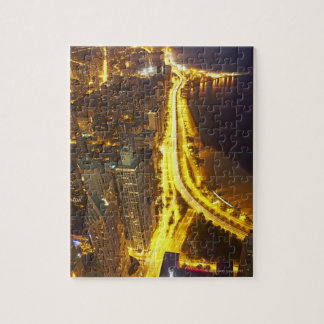 USA, Illinois, aerial view of Chicago at dusk Puzzle