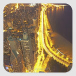 USA, Illinois, aerial view of Chicago at dusk Square Stickers