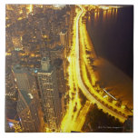 USA, Illinois, aerial view of Chicago at dusk Tile