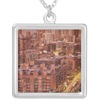 USA, Illinois, Chicago, Chicago River 2 Silver Plated Necklace