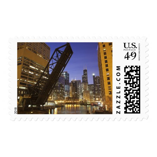 USA, Illinois, Chicago, Chicago River Postage Stamp
