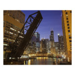 USA, Illinois, Chicago, Chicago River Poster