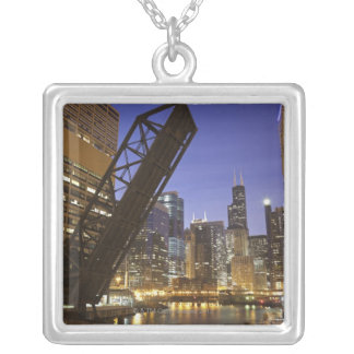 USA, Illinois, Chicago, Chicago River Silver Plated Necklace