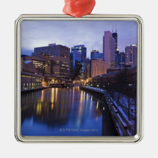 USA, Illinois, Chicago, City reflected in Metal Ornament