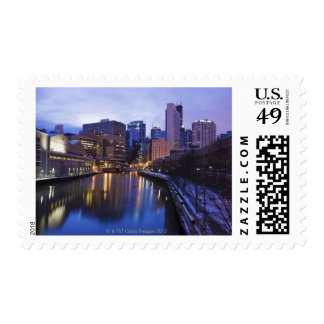 USA, Illinois, Chicago, City reflected in Postage