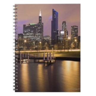 USA, Illinois, Chicago, City skyline and marina Notebook