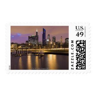 USA, Illinois, Chicago, City skyline and marina Postage