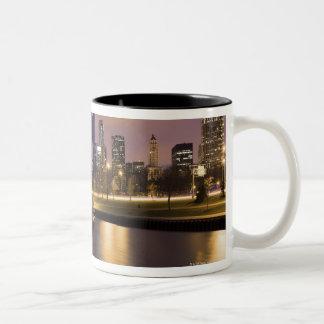 USA, Illinois, Chicago, City skyline and marina Two-Tone Coffee Mug
