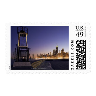 USA, Illinois, Chicago, City skyline from Lake 2 Postage