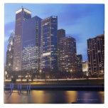 USA, Illinois, Chicago, City skyline of Randolph Ceramic Tile