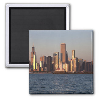 USA, Illinois, Chicago, City skyline over Lake 2 2 Inch Square Magnet