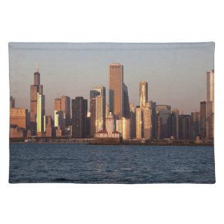 USA, Illinois, Chicago, City skyline over Lake 2 Cloth Place Mat
