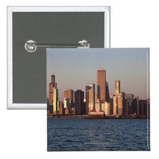 USA, Illinois, Chicago, City skyline over Lake 2 Pinback Button