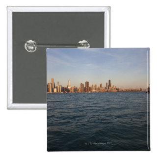 USA, Illinois, Chicago, City skyline over Lake 3 Button