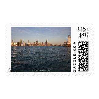 USA, Illinois, Chicago, City skyline over Lake 3 Postage