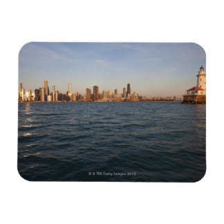 USA, Illinois, Chicago, City skyline over Lake 3 Rectangular Photo Magnet