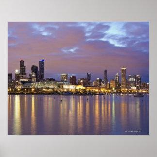 USA, Illinois, Chicago, City skyline over Lake 5 Poster