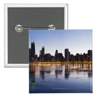 USA, Illinois, Chicago, City skyline over Lake 6 Pinback Button