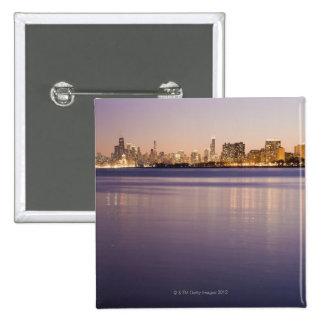 USA, Illinois, Chicago, City skyline over Lake 8 Pinback Button