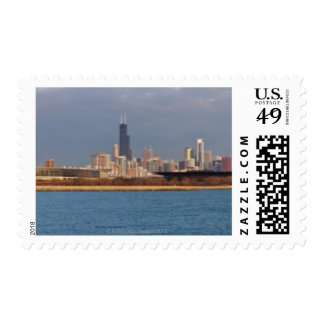 USA, Illinois, Chicago, City skyline over Lake 9 Postage