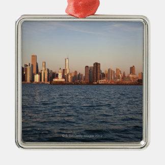 USA, Illinois, Chicago, City skyline over Lake Square Metal Christmas Ornament