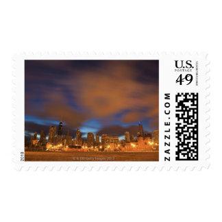 USA, Illinois, Chicago, City skyline over Lake Postage