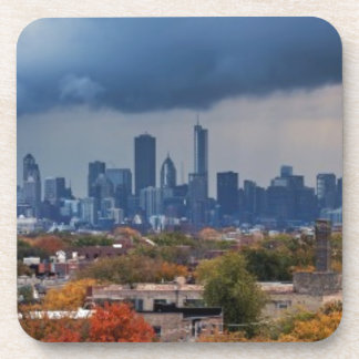 USA, Illinois, Chicago, cityscape Beverage Coaster